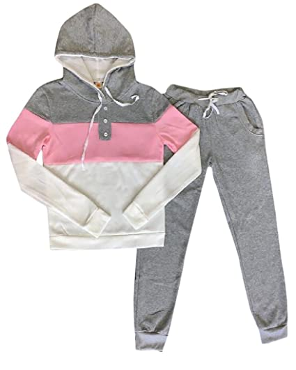 65745335b7903 Zimaes Women s Simple Soft Cotton Hoodie and Sweat Pants Set at ...