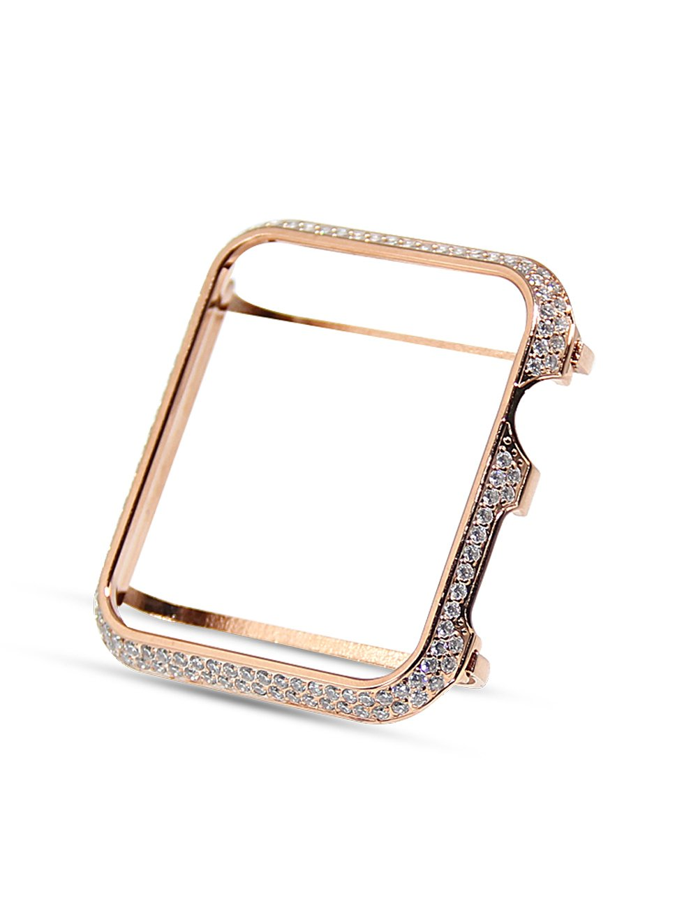 Huanxi 38mm Handwork Encrusted Rhinestone Diamond case Bezel Compatible Apple Watch Series 3 2 1,Rosegold
