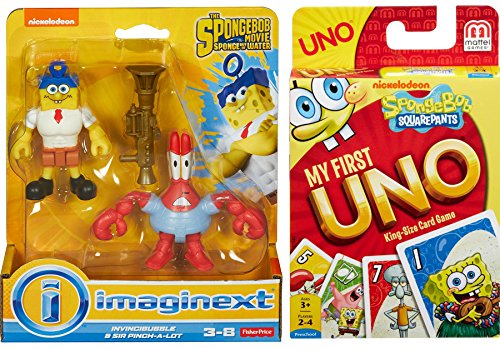 Spongebob Card Game & Figure Pack Spongebob Squarepants My First UNO Card Game + Invinvibubble & Sir Pinch-A-Lot