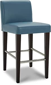 Chita Counter Height Barstool Upholstered Faux Leather Bar Stool 26 H Seat Height Dark Blue Furniture Decor
