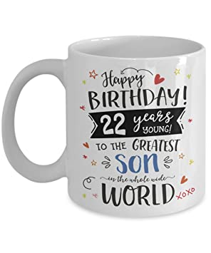 22nd birthday gift for son mug 22 years greatest son in the whole