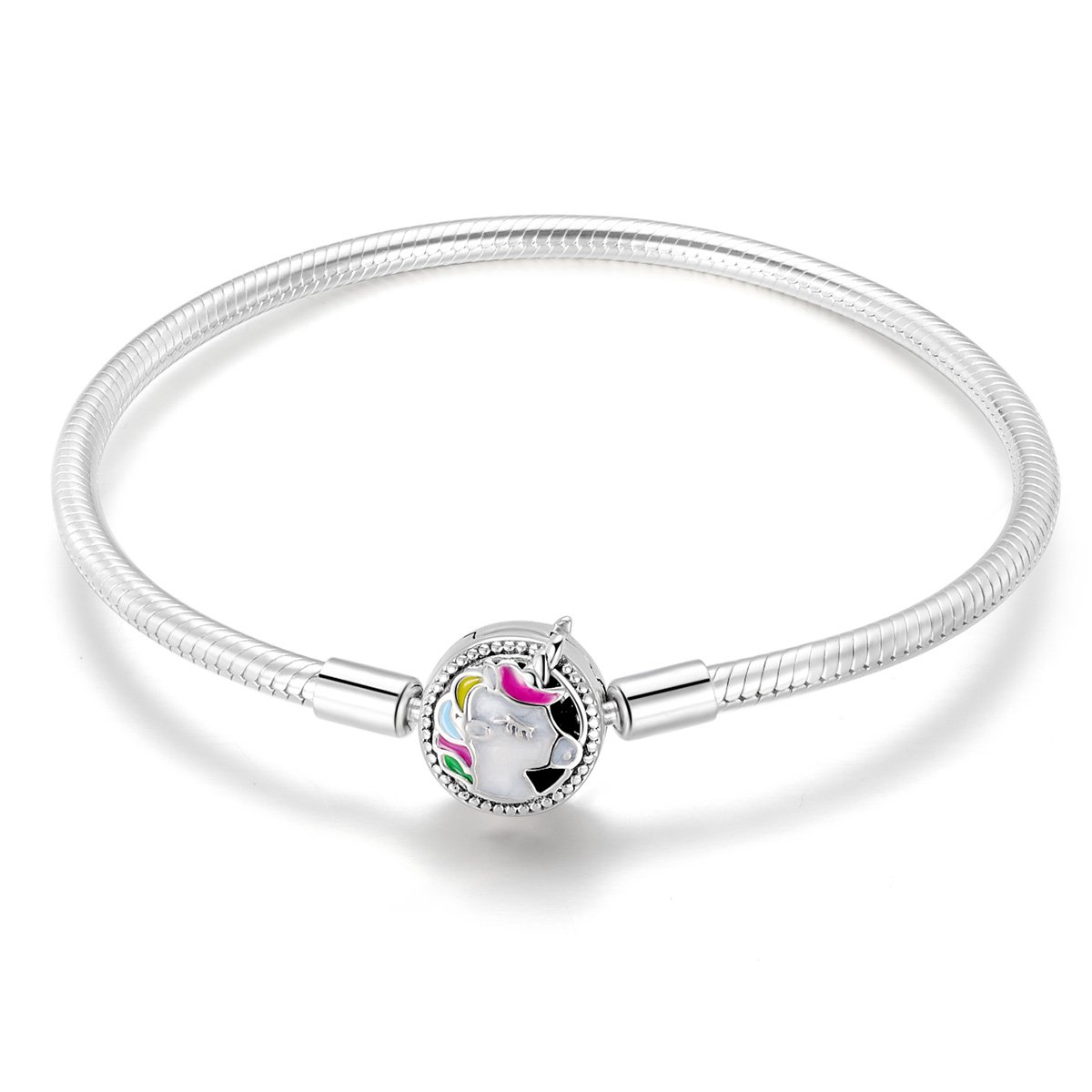 Charm Bracelet, 925 Sterling Silver Charm with Colorful Unicorn Charm Clasp, Snake Chain Bracelet for Women Girls Teen, 7.5inch, BJ09083
