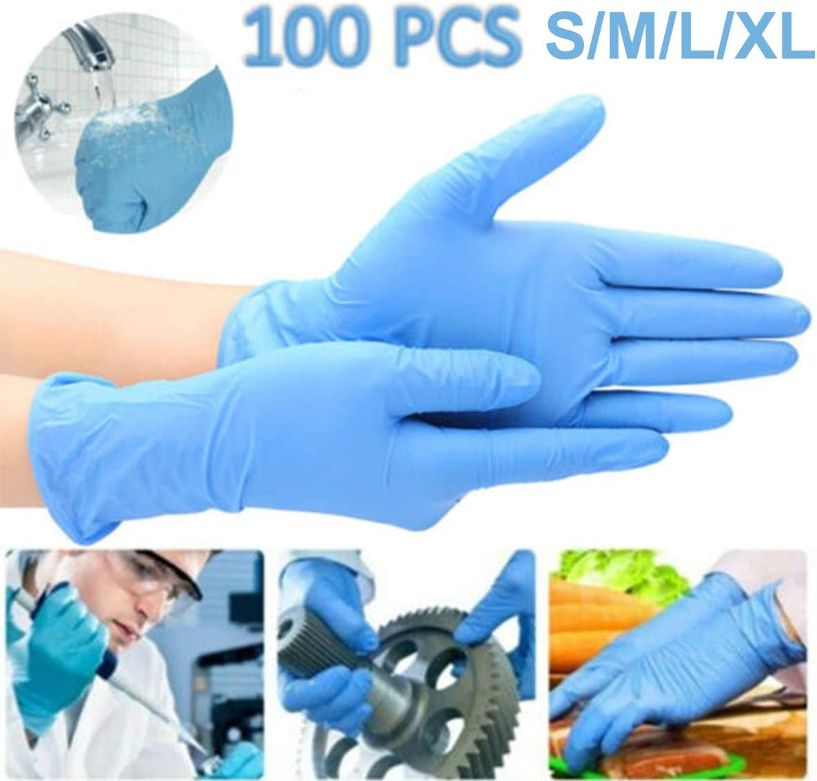 100 Pcs Black Industrial Disposable Nitrile Latex Gloves Powder-Free Size