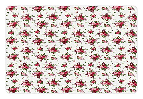 Ambesonne Flowers Pet Mat for Food and Water, Bridal Bouquets Pattern with Roses and Freesia Romantic Victorian Composition, Rectangle Non-Slip Rubber Mat for Dogs and Cats, Pink Ruby (Freesia Bouquet)