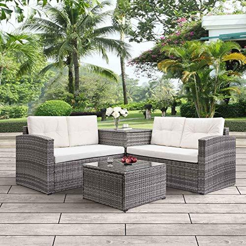 Leisure Zone 4PCS Big Outdoor PE Rattan Wicker Patio Sofa Sectional Furniture Set Conversation Set, Beige Cushion and Beige Pillows