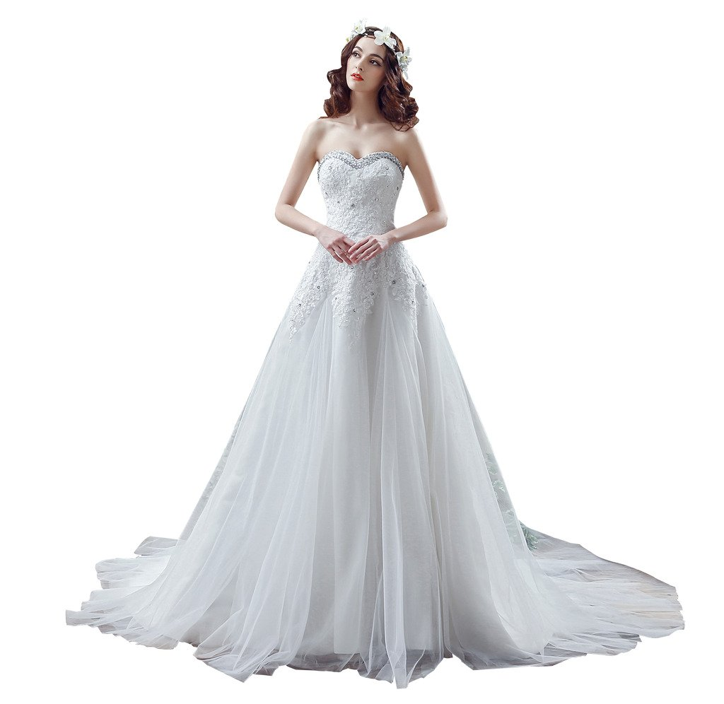 BoShi Women's Strapless Appliques Beaded Bride Gowns Wedding Dresses US 12
