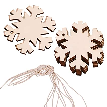 Lingjun 20 Pack Christmas Snowflake Unfinished Wooden Cards Diy Craft Holiday Hanging Greeting Cards With Holes