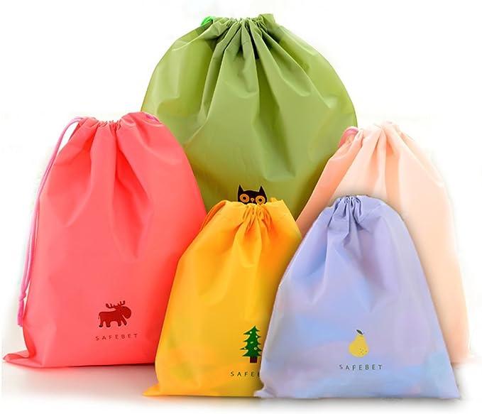 Gym Drawstring Bags Cute Cartoon Teddy Bear With Camera On The Meadow Sport Storage Polyester Bag For Gym