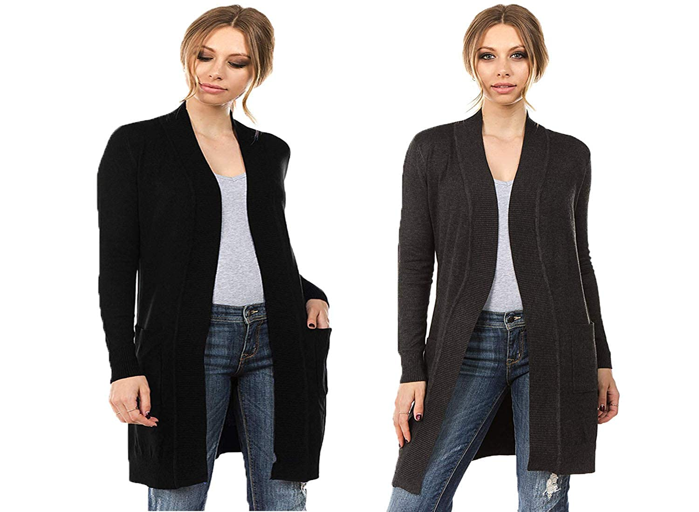 Black Charcoal CIELO Women's Long Sleeve Sweater Duster Cardigan