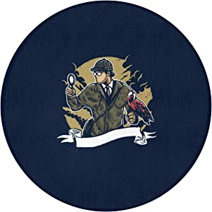 "Sherlock Holmes Parrot Magnifying Glass Indoor Outdoor Rug Round 60"""" x60 Front Door Mat Waterproof, Non Slip Washable Quickly Absorb Moisture and Resist Dirt Rugs for Entryway"