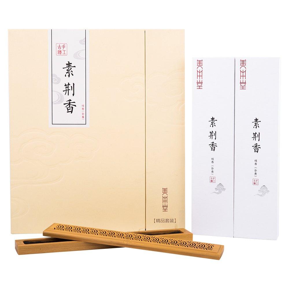 shanbentang Incense Sticks、純粋な自然Incense Stickハンドメイド、NO化学追加され、プレミアムギフト梱包with Wooden Incense Burner B07C88WKWQ