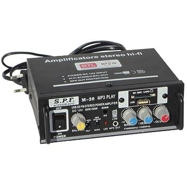 MINI Amplificador Casa Y Coche 12-220 VOLT SPF M-20 Con Entradas Y