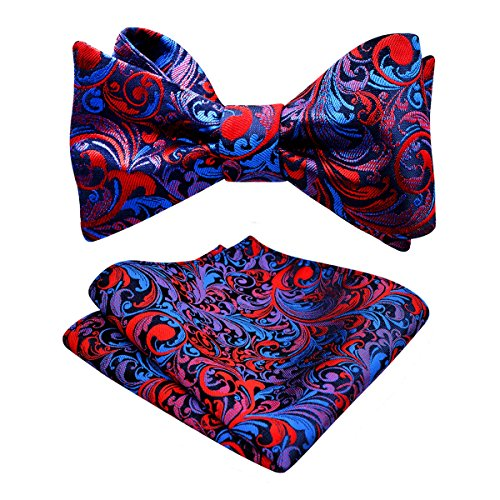 Alizeal Mens Adjustable Length Self Tied Bow Ties with Pocket Square Set