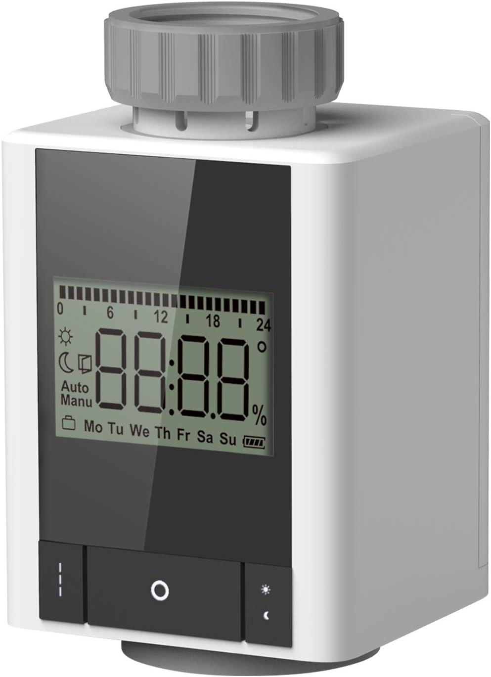 Galapara Termostato programable para radiador, calefacción inteligente, control por aplicación con el estándar inalámbrico ZigBee, compatible con Alexa y Google Home.