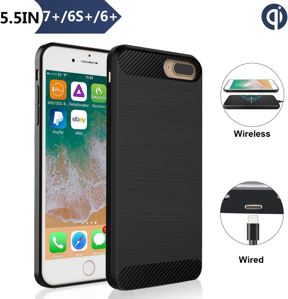 Wireless Charging Receiver Case for iPhone 7 Plus/6S Plus/6 Plus(Not Battery), ANGELIOX Qi Wireless Charging Enabling [3rd Generation] Shockproof Protective Back Cover-5.5in Black