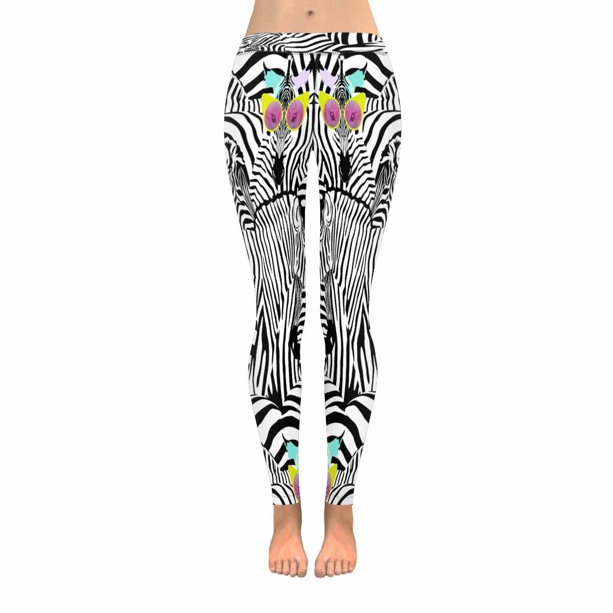 InterestPrint Modern Zebra in Sunglasses Animal Stretchy Capri Leggings Skinny Yoga Sports Pants 2XS by InterestPrint