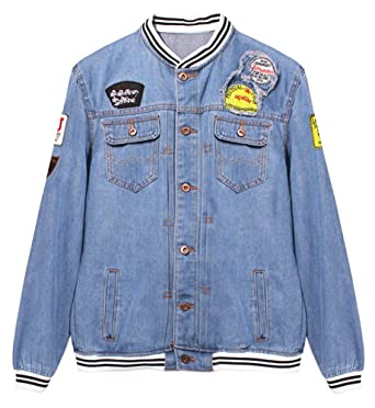 a5d696287302 LifeHe Denim Jacket Men Blue Jean Jackets Coats with Patches at ...
