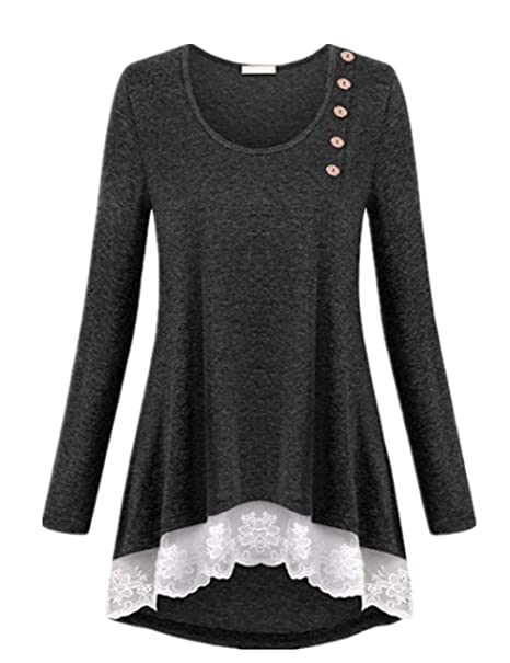 8eb33b81df2 Women's Tops Side Button Lace Hem Flowy Tunic Shirt Plus Size Top Blouses,  Dark Grey