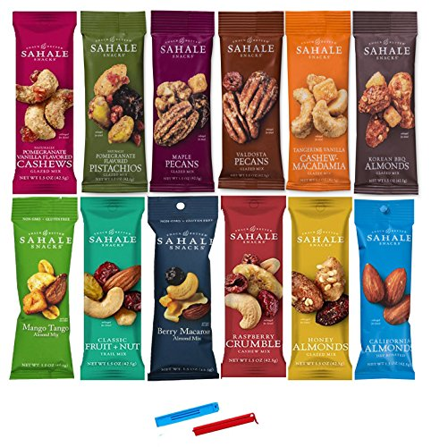 Sahale Snacks All Natural Nut Blends Grab And Go Variety 12-Flavors (1.5 oz x 12 CT Packs) with 2 Snack Clips (Cashews Sahale)