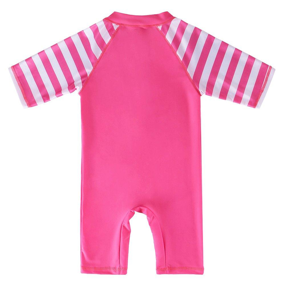 UV Swimsuit One Piece Flower Swimwear Bodysuit with Ziper 1-10Years Sunsuit Rash Gurad HUAANIUE Girls Pink UPF 50