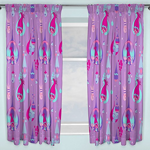 Troll Princess Poppy Purple Bedroom Curtains