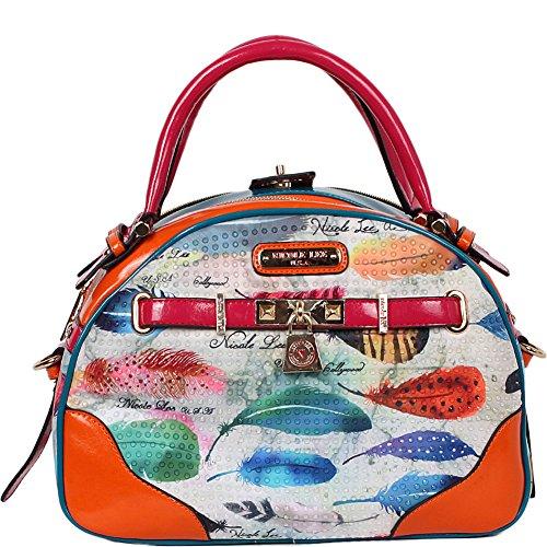 Feather Print Bowler Bag (feather) Fea10438