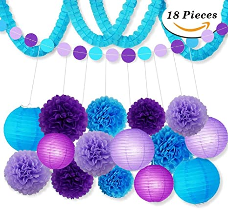 Kit De Decoración De Fiesta Lila Azul Papel De Seda Pompones