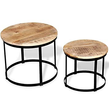 Amazon.com: Two Piece Coffee Table Set Rough Mango Wood ...