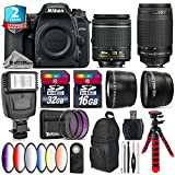 Holiday Saving Bundle for D7500 DSLR Camera + 70-300mm G Lens + AF-P 18-55mm + 6PC Graduated Color Filter + 2yr Extended Warranty + 32GB Class 10 Memory + Backpack + 16GB - International Version