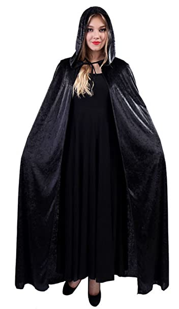 3d762282a0 Amazon.com  Adult Halloween Hooded Cloak Costumes Women Ghost Death Cape  Cosplay Long Robe (Black)  Clothing