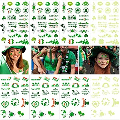 "NUOLUX Shamrock Tattoos for St. Patrick's Day 8 Sheets, Over 140 Tattoos with Shamrock, Irish Flag, ""Luck of the Irish"", Etc. from NUOLUX"