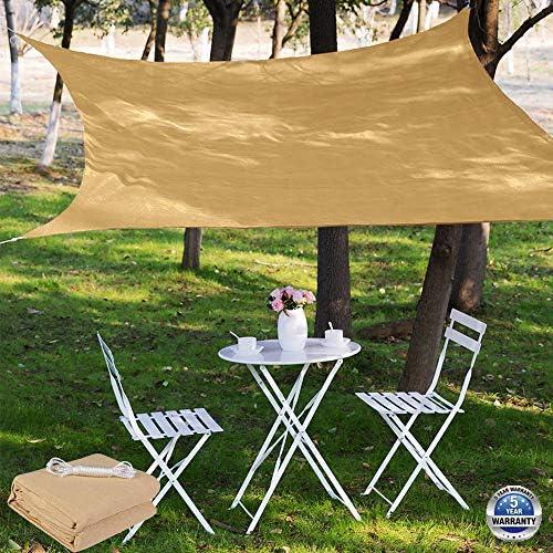 Sun Shade Sail Canopy 8 x 10 ,Rectangle Shade Cloth UV Block Sunshade Fabric – Outdoor Cover Awning Shelter for Pergola Backyard Garden Yard – Sand 8 x 10 , Sand