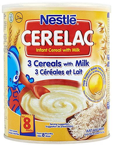 Nestle Cerelac 3 Cereals With Milk, 400 Gram Can (Pack of 4) DIMBL C06
