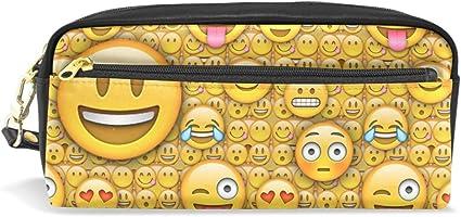 Funny Emoji - Estuche para lápices (gran capacidad, con cremallera, bolsa de maquillaje): Amazon.es: Oficina y papelería