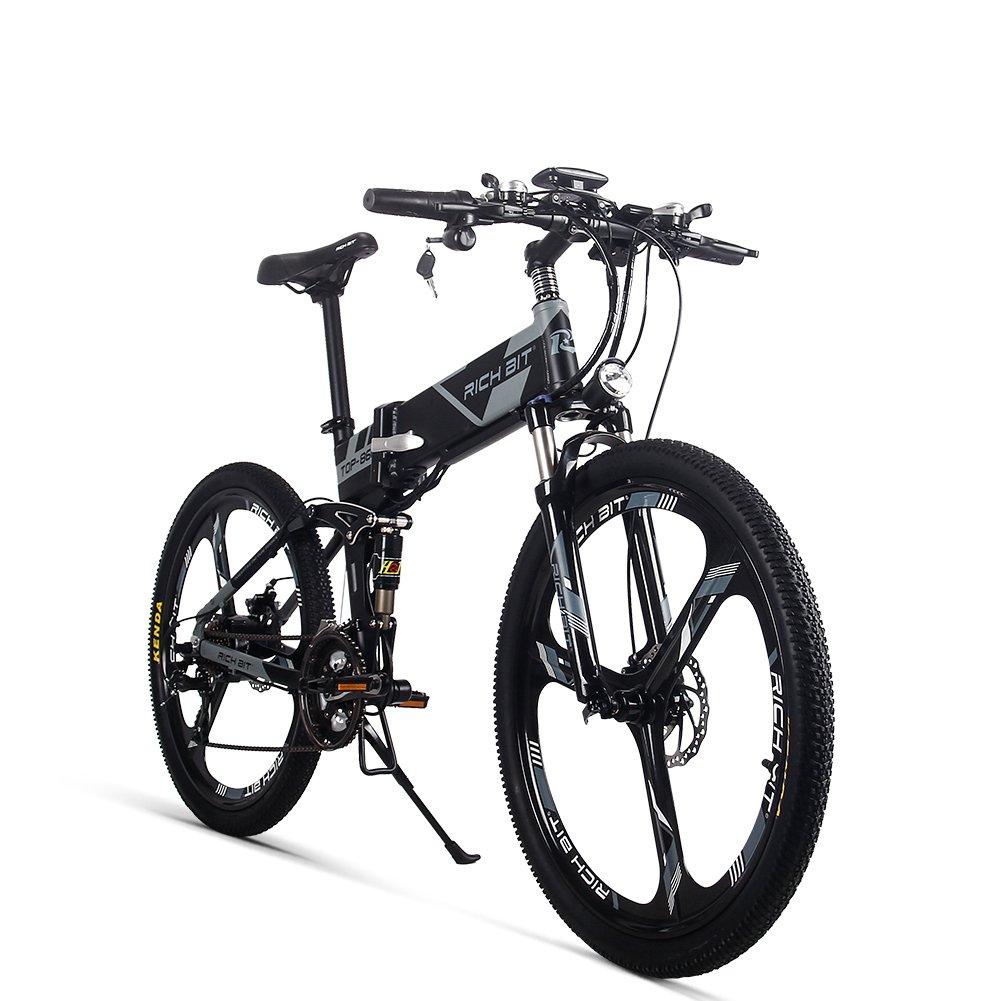 JIMAI Rt-860 Mans plegable bicicleta eléctrica, híbrida de montaña MTB bicicleta de doble suspensión, 250 W, 36 V, 21 velocidades, con bicicleta de pie ...