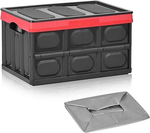 Hivexagon Organizador de Maletero Plegable automóvil con Bolsa Impermeable, Caja de plástico Duradera para Almacenamiento de comestibles con Tapa automóviles, Garaje, hogar o jardín, Negro (30L): Amazon.es: Jardín
