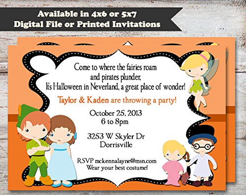 Peter Pan Halloween, Costume or Birthday Party Invitation, Set of 10 5