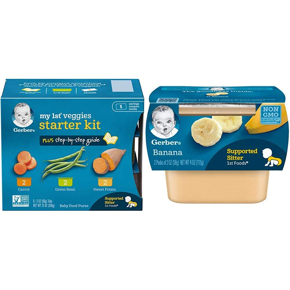Gerber Purees My 1st Vegetables, Box of 6 2 Ounce Tubs (Pack of 2) & 1st Foods, Banana Pureed Baby Food, 2 Ounce Tubs, 2 Count (Pack of 8)