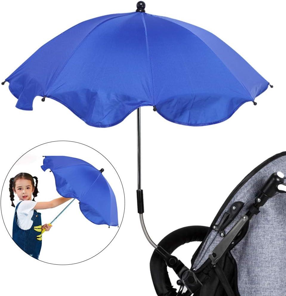 Diameter 65cm, Plastic Clamp Urijk Stretchable Baby Pram Stroller Chair Anti-UV Sun Cover,Bicycle Umbrella Holder Clip Clamp,Solar Waterproof Umbrella for Trolley Bike Wheelchair Fishing