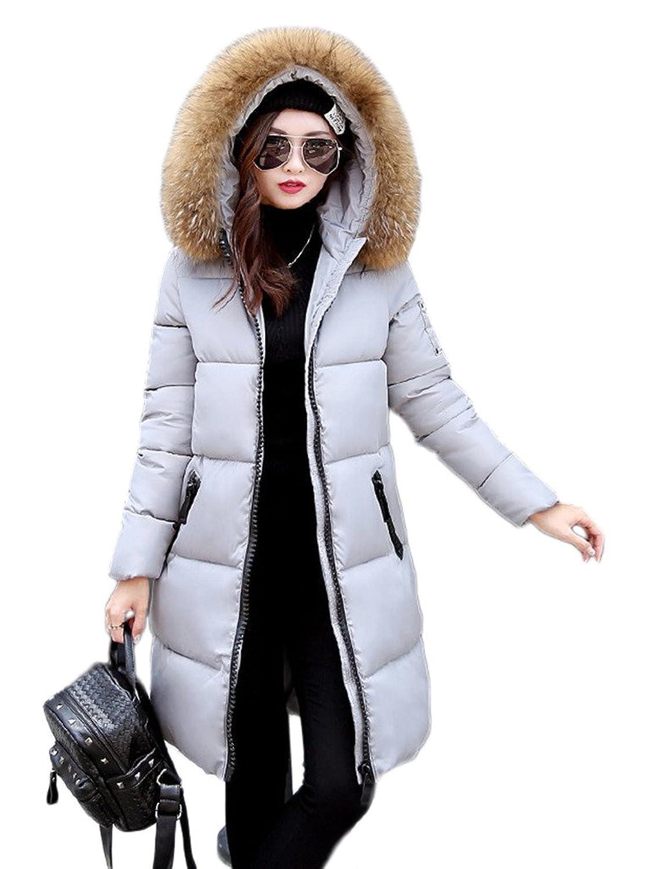 Smile YKK Womens Winter Thickened Long Jacket Down Fur Hooded Light Coat