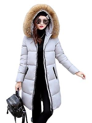 Bigood Women's Down Coat Big Fur Hooded Parka Winter Puffer Jacket Grey S