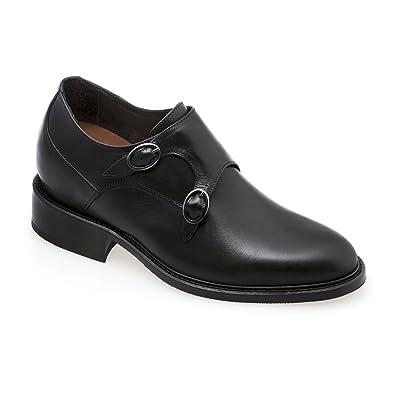 GuidoMaggi Outlet - Elegantes mocasines con hebilla, con alza de 7.5 cm - POLLINO - Negro - Talla 43 EU: Amazon.es: Zapatos y complementos