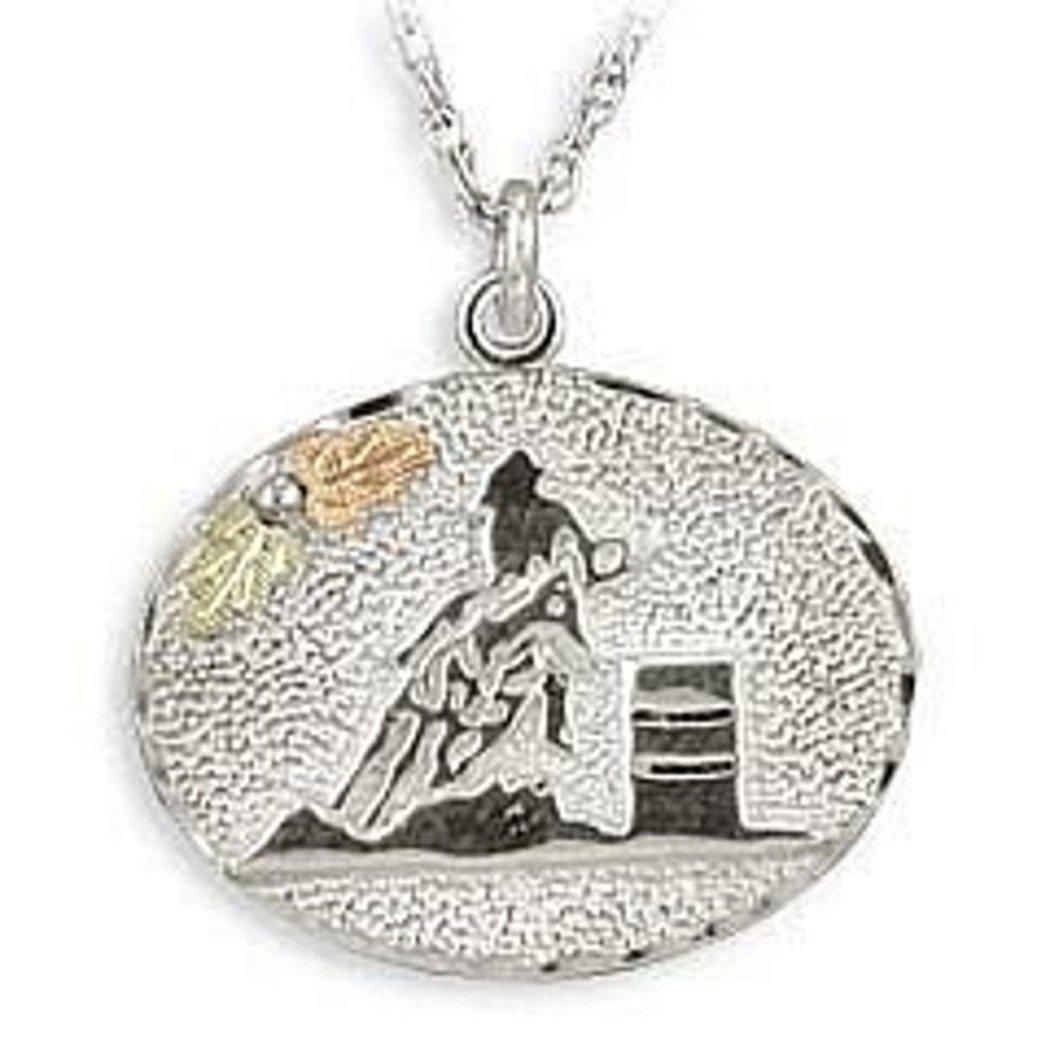 Black Hills Gold Silver Barrel Racer Necklace