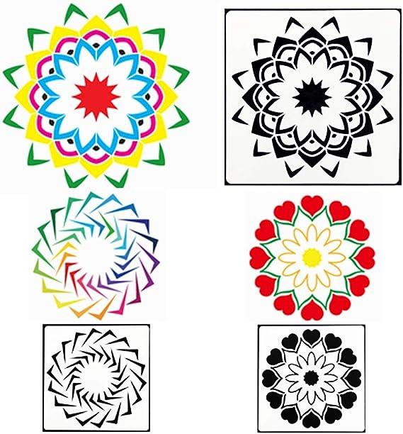 8,9 x 8,9 cm Glas Metall und W/ände Kunst Stoff Subang 50 St/ück Mandala-Punkt-Malschablonen f/ür Malerei auf Holz