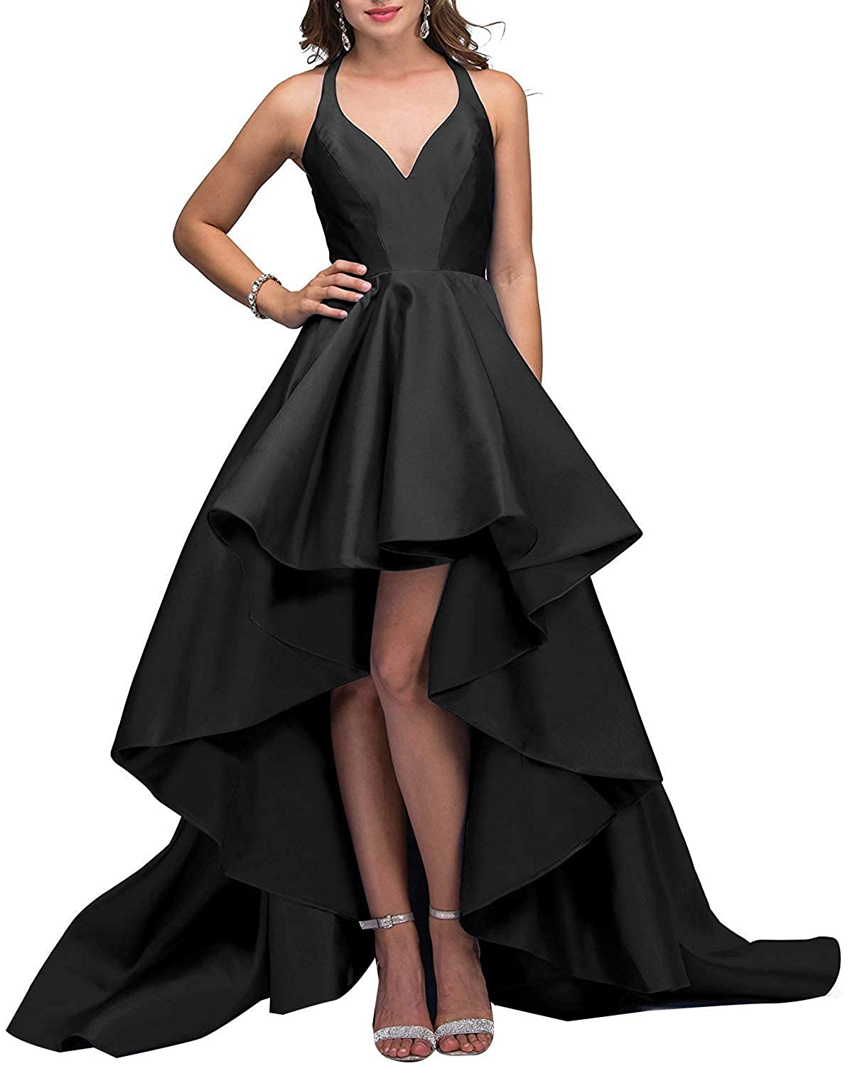 Black V Neck Prom Gowns High Low Satin 2019 Open Back Formal Evening Dreses for Women