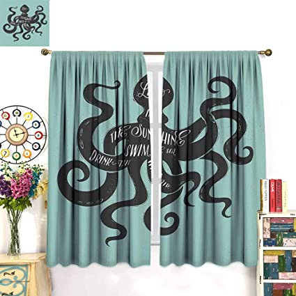 Amazon com: Octopus Decor Curtains by Live in The Sunshine