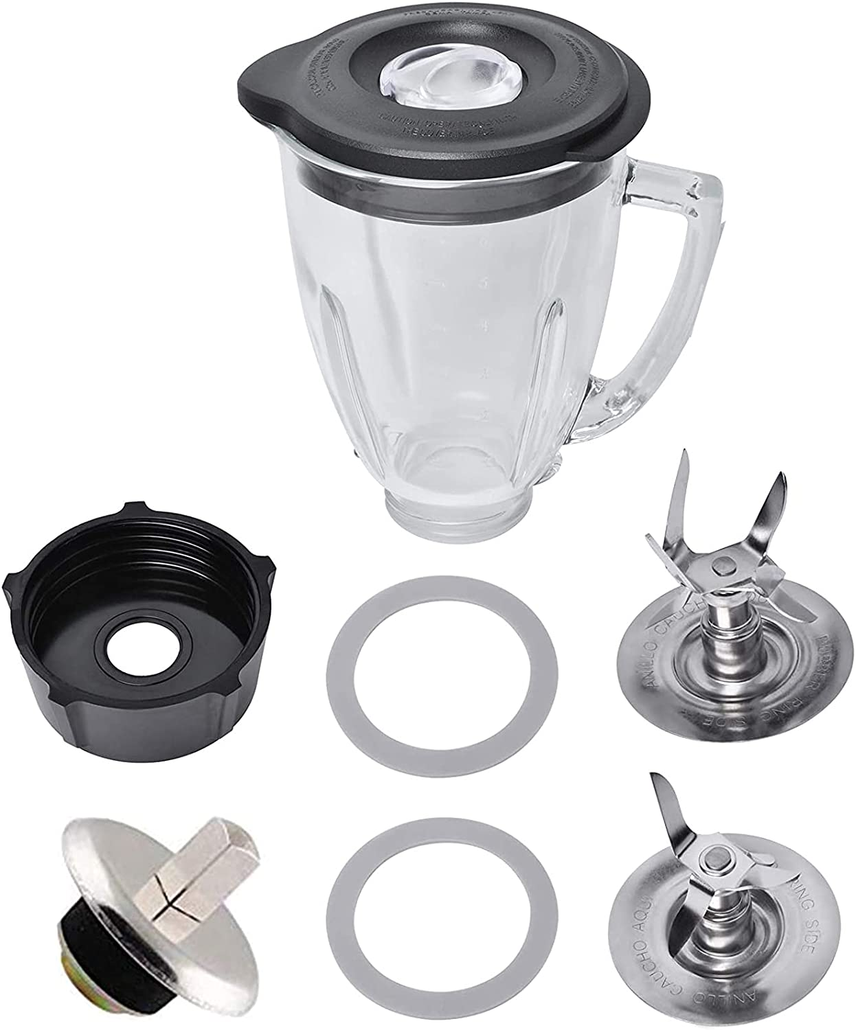 6 Cup Glass Jar Replacement for Oster and Osterizer Blender, with 4961, 4980 Ice Blade, 4902 Blender Jar Bottom Cap Base, Drive Coupling, Rubber Seal Rings Accessory Kit