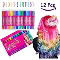 Girl Hair Chalk Set - Meland Temporary Hair Color for Kids Girl Hair Dye Set Toys Gifts for Girls Age 4 5 6 7 8 + Birthday Party 12 Color