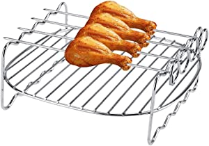 Air Fryer Double Layer Rack,Multi-purpose Double Layer Rack with Skewer, Compatible with XL Power Airfryer Philips (Renewed)