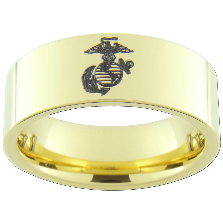 9mm Gold Tungsten Carbide USMC Marine Anchor Globe Eagle Rings
